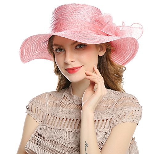 WELROG Women's Derby Church Dress Hat - Wide Brim Floppy Floral Ribbon UPF Protection Wedding Sun Hats(Coclr Salmon) by WELROG