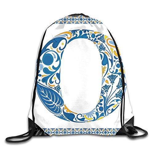 Unisex Drawstring Bag Gym Bags Storage Backpack,Blue Capital Letter In Framework Portuguese Tile Art Azulejo Floral - Decor Capital Blue Tile