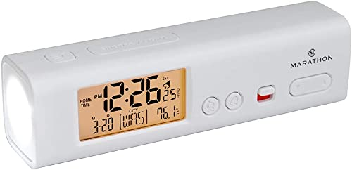Marathon World Travel Atomic Alarm Clock with LED Flashlight – Emergency Clock, Camp Clock, Hotel Clock, Home Disaster Kit Clock – Batteries Included – CL030045-WH White