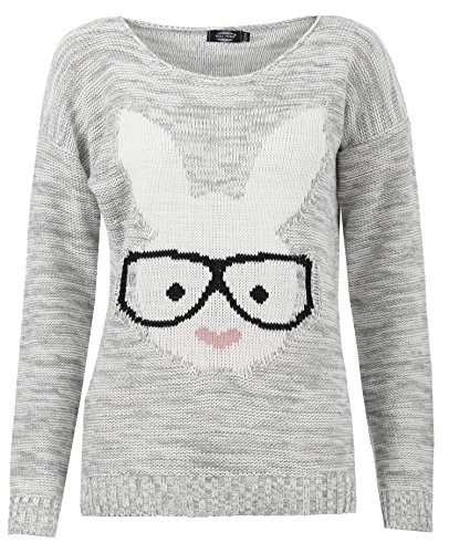 Forever Womens Long Sleeves Bunny & Fox Glasses Print Knitted Motif Jumper (Knitted Glass)