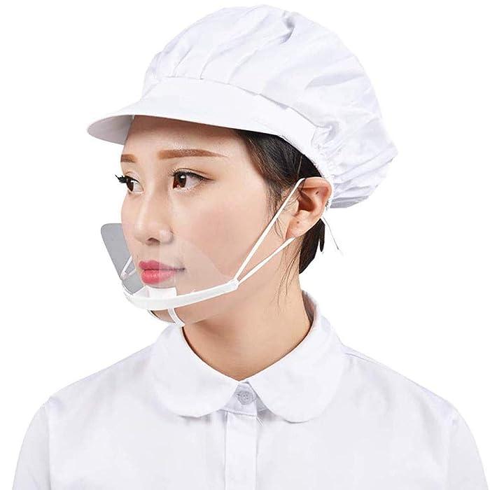 5 Pcs Chef Plastic Transparent Mask Anti-fog Smile Food Restaurant Hotel Restaurants Catering Kitchen for Skin Care Food Makeup Plastic Mask