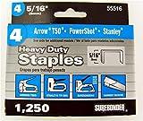 Surebonder 55516 Heavy Duty 5/16-Inch Length Staples, Arrow T50 Type, 1250 Count