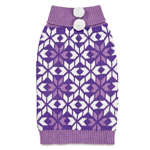 Zack & Zoey Elements Snowflake Pom Pom Sweater for Dogs, Purple, XX-Small (Pom Snowflake Pom Sweaters)