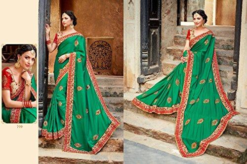 tradizionale richlook etnico Matrimonio da indiano abito latest sposa indiano jari sari partywear Saree donna 760 Seta wXgRTvgq