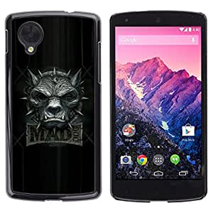 Design for Girls Plastic Cover Case FOR LG Nexus 5 D820 D821 Mad Wolf Dog Grey Black Angry Teeth Collar OBBA