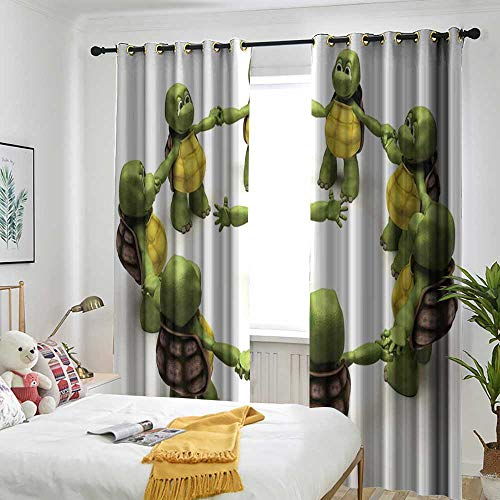 backout Curtains for Bedroom Multicolor Printed Curtains for Living Room and Bedroom Reptile,Ninja Turtles Dancing Tortoise Team Relax Fun Happiness Childhood Kids Print,Green White Brown