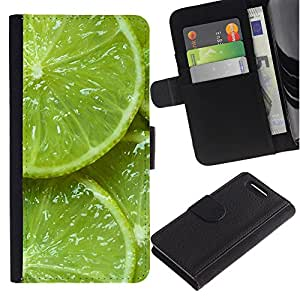 KLONGSHOP / Tirón de la caja Cartera de cuero con ranuras para tarjetas - Green Fresh Fruit Clean Spring Minimalist - Sony Xperia Z1 Compact D5503