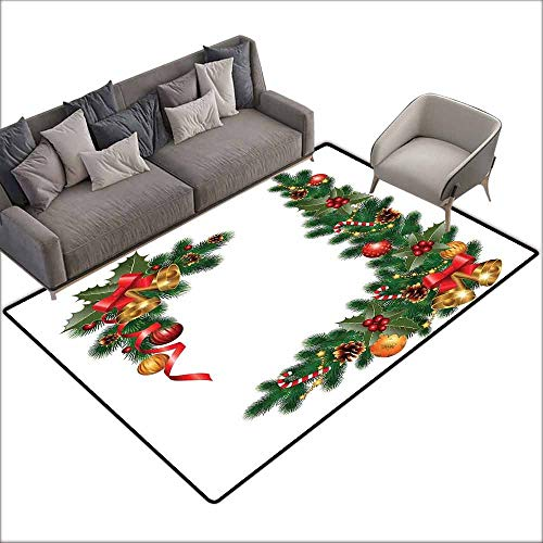Custom Door Rugs for Home Rugs Christmas Noel Ornaments Themed Fir Tree with Ornaments Classical New Year Concept Print with Anti-Slip Support W6'7 x L9'10 Green Golden