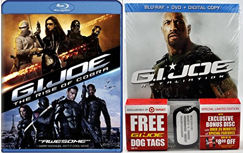 - G.I. Joe Retaliation Exclusive (Blu-ray + DVD) 2012 & G.I. Joe Rise of the Cobra Pack Movie with Dog Tags Sci-Fi Action set
