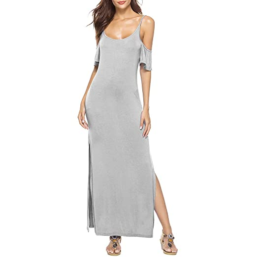 66810b21d442a Image Unavailable. Image not available for. Color: Giulot Women's Cold  Shoulder Strappy Split Maxi Dress ...