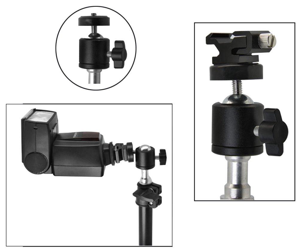 AKOAK 1//4 Swivel Mini Ball Head Screw Tripod Mount for DSLR Camera Camcorder Light Bracket