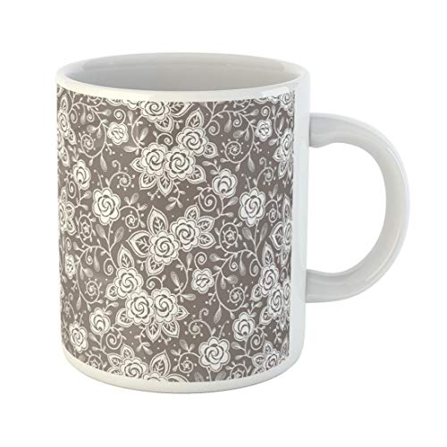 (Tarolo 11 Oz Mug Coffee Mug Ceramic Tea Cup Pink Pattern Roses Lace Brocade Small Beauty Bud Color Large C-handle Family and Office Gift)