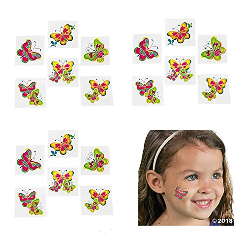 12 Dozen (144) Adorable Butterfly Temporary Tattoos - Party Favors Goody Bags Peace Love Hippie Retro 60's