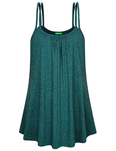 Kimmery Swing Tank Tops for Women, Strappy Shirts Boat Neck Swing Hem Sleeveless Tunics Dense Stitching Wrinkle Resistant Skirts Matching Durable Well Made Baggy Outfits Green Medium