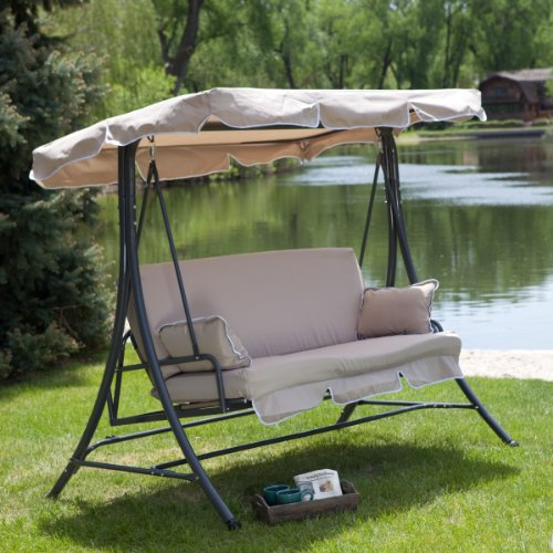 Canopy Patio Porch 3 Person Swing Lounger Chair and Bed -...
