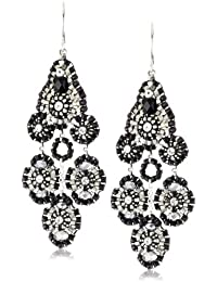 Jet and Sterling Silver Small Station Dangle Earrings