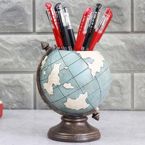 Muamax Vintage Resin Globe Pencil Holder Creative Pen Holder For Desk  3 5 Inch Round Cup Sturdy Metal Bottom Desktop Organizer   Decor For Study Room Bookshelf Cabinet Home Office Accessories  Blue