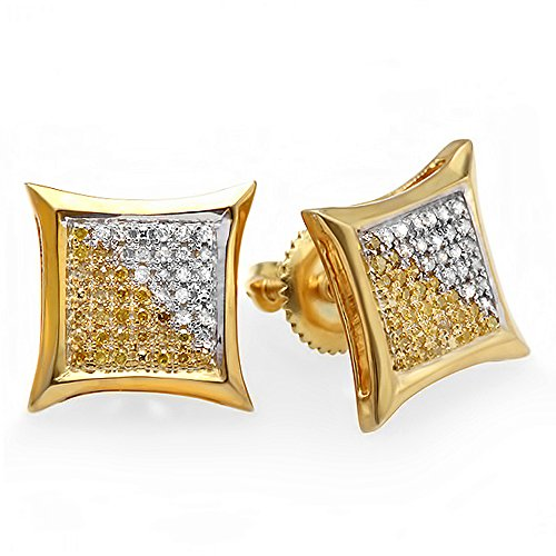Dazzlingrock Collection 0.25 Carat (ctw) 10K White & Yellow Round Diamond Micro Pave Setting Kite Shape Stud Earrings 1/4 CT, Yellow Gold