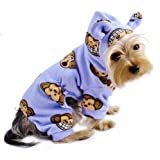 Adorable Silly Monkey Fleece Dog Pajamas/Bodysuit with Monkey Ears on the Hood – Lavender – S, My Pet Supplies