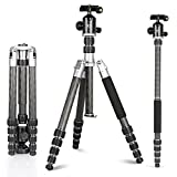 Carbon Fiber Tripod Kit 60'' Professional Portable Travel Tripod for Canon, Sony, Nikon, Samsung, Panasonic, Olympus, Kodak, Fuji, GoPro devices,Camera Compact and Video Camera, N3, Silver