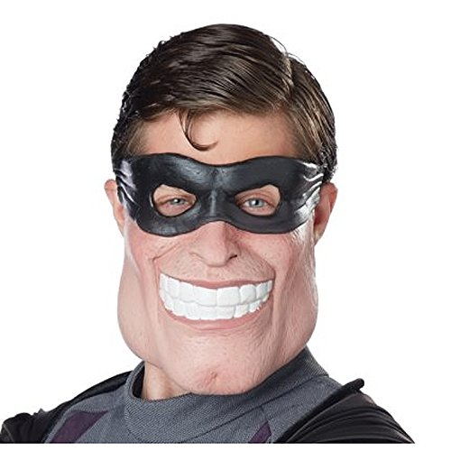 Funny Halloween Half Masks (California Costumes Men's Super Dude Mask, Black/Flesh, One)
