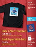 Avery Dark T-Shirt Transfers for Inkjet Printers, White, 5 Pack (3279)