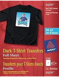 Avery Dark T-Shirt Transfers, for Use on Dark Fabrics, Inkjet Printers, 5 Paper Transfers (03279)