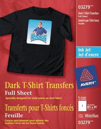 Avery Dark T-Shirt Transfers for Inkjet Printers, White, 5 Pack (3279) 03279