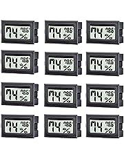 TASOGEN 12 Pack Mini Digital Thermometer Hygrometer,Indoor Temperature and Humidity Gauge Meter Monitor Fahrenheit (℉) for Humidor,Greenhouse,Reptile Tank,Home,Jars
