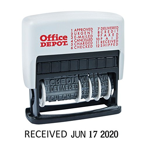 (Office Depot Self-Inking 12-in-1 Micro Message Dater, Black, 032539)