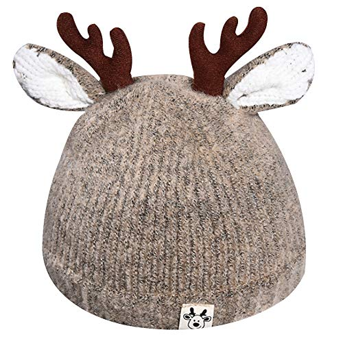 Queena Cute Reindeer Antlers Baby Warm Hat Crochet Knitted Beanie Cap Photo Prop for Toddler Girls Boys Khaki