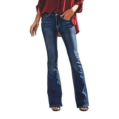 Kunfang Mujer Pantalones de Campana Jeans Elástico Apretado ...