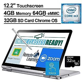 2020 Samsung Chromebook Plus V2 12.2 Inch FHD 1200P Touchscreen 2-in-1 Laptop, Intel Core m3-7Y30, 4GB RAM, 64GB eMMC, WiFi, Webcam, Chrome OS + NexiGo 32GB MicroSD Card Bundle, Pen Included