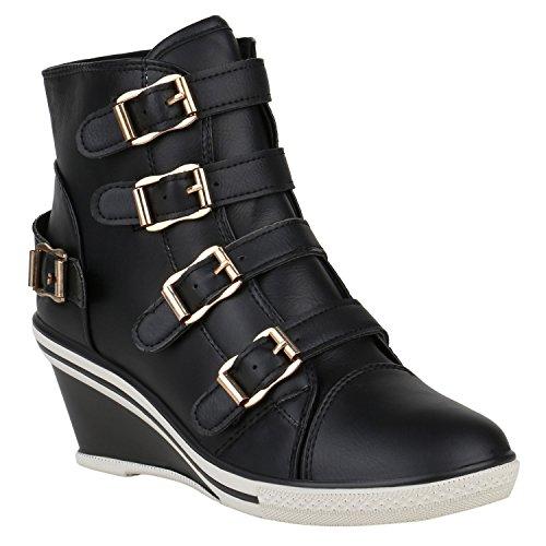 Stiefelparadies Damen Sneaker Wedges Keilabsatz Sneakers Glitzer Schnürschuhe Leder-Optik Klettverschluss Schuhe Flandell Schwarz Carlet