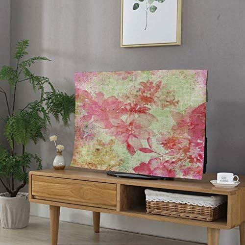 テレビカバー 防塵カバー 液晶テレビカバー 40インチのテレビに適用 防塵カバー - PC カバー ディスプレイ 花の家の装飾 グランジスタイルの日付の背景レトロなキッチュ職人印刷 ピンクグリーンの花のデザイン