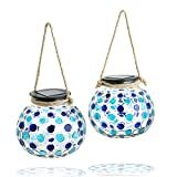 Gadgy Solar Table Lanterns Set | 2 Pieces | Glass Lamps with LED Light | Garden Balcony Deco with Mosaic Light Effect and Rope Handle