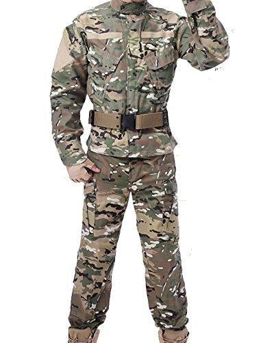(Newdoar Men's Military Combat Tactical Uniform Two-Piece Camo Jacket and Pants Set Outdoor Hunting Suit)