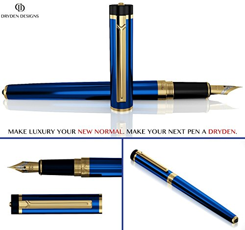 DRYDEN Luxury Fountain Pen [MYSTERIOUS BLUE] - BEST Fountain Pens Gift Set - Smooth Elegant Writing - Calligraphy - FREE Ink Refill Converter