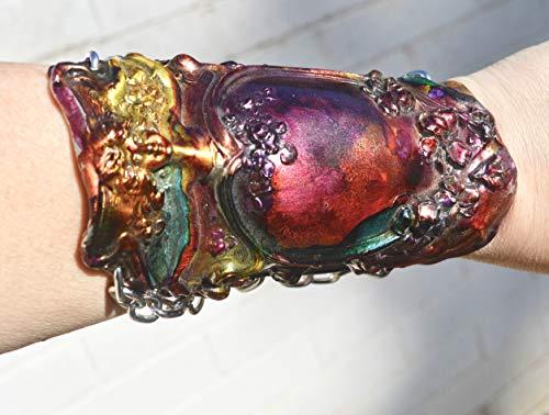 Rainbow Antique Victorian Lady Face Silver Goddess Art Nouveau Wide Cuff Bracelet Woman Bracer Warrior Armor