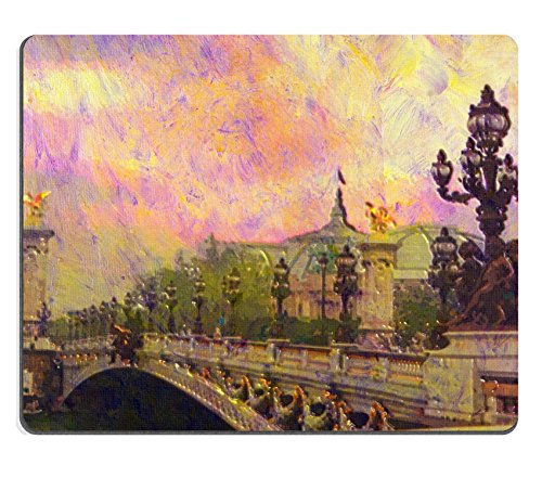 Liili Mouse Pad Natural Rubber Mousepad original oil painting of Pont Alexandre iii bridge Photo 7079625