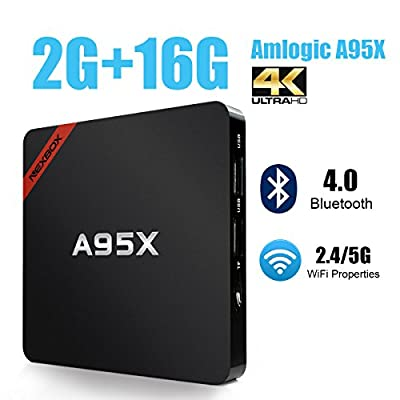 A95X Pro TV Box Android 6.0 4K Smart Box Amlogic S905X Quad Core 2GB RAM 16GB ROM Support VP9 HDR HEVC 2.4G/ 5G Dual Band Wifi Bluetooth 4.0 Rooted Box