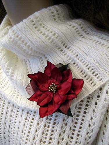 Christmas Brooch Burgundy Red Poinsettia Fabric Flower Lapel Pin Hair Clip, Marsala Shabby Chic Vintage-Style Jewelry Gift Idea
