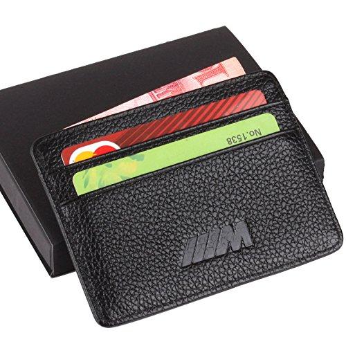 ///M BMW Slim Wallet Black with 4 Credit Card Slots - Genuine Leather