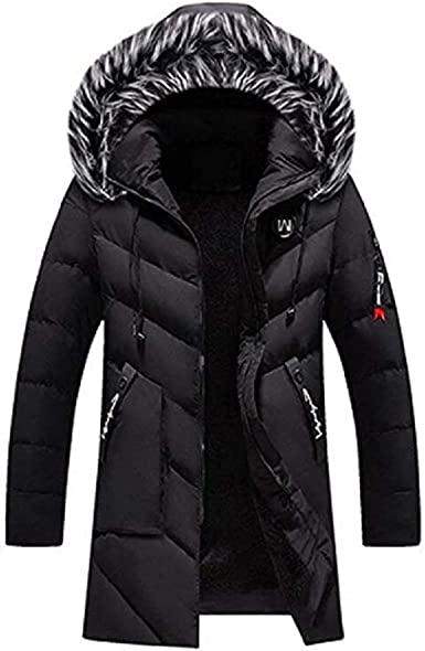 Springrain Mens Thickened Warm Quilted Down Coat Outerwear with Removable Hood