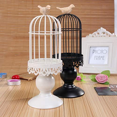 BROSCO Rustic Tealight Votive Candle Holder Birdcage Candlesticks Ornament Black