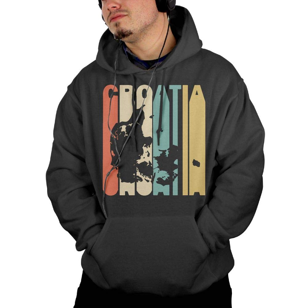 Big /& Tall Cotton Sports Pullover with Pocket for Men Men Retro Style Croatia Silhouette Pullover Hoodie