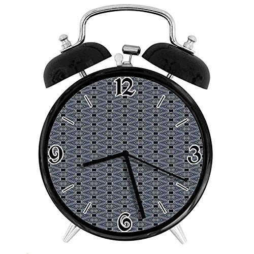 one-six-seven Diamond Line Pattern with Squares and Abstract Graphic Flowers Desk Clock Home Unique Decorative Alarm Ring Clock 4in ()