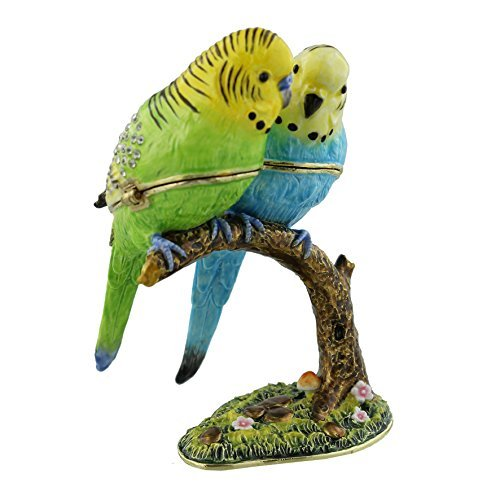 2 BUDGERIGAR Birds On Branch Budgies Trinket Box / Ornament - New Gift by TREASURED TRINKETS