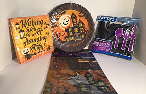 Halloween Wishing You A Haunting Night Plate, Napkins,Plastic Cutlery Set and Table cover for 18 Piece (Unique Homemade Costumes For Halloween)
