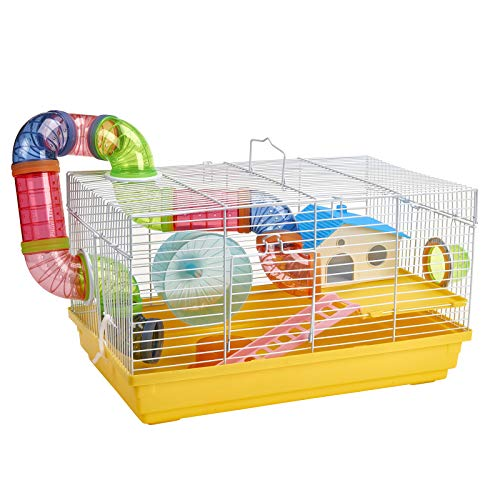 Pet Ting Sage Hamster Cage with Tubes and Accessories Mouse Wheel Drinker Yellow